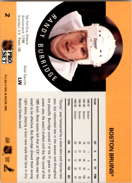 1990-91 Pro Set #2 Randy Burridge back image