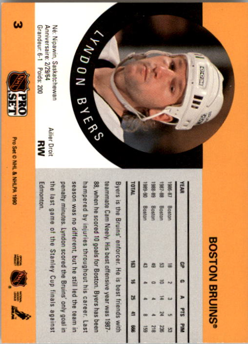 1990-91 Pro Set #3 Lyndon Byers RC back image