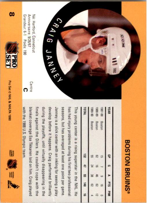 1990-91 Pro Set #8 Craig Janney back image