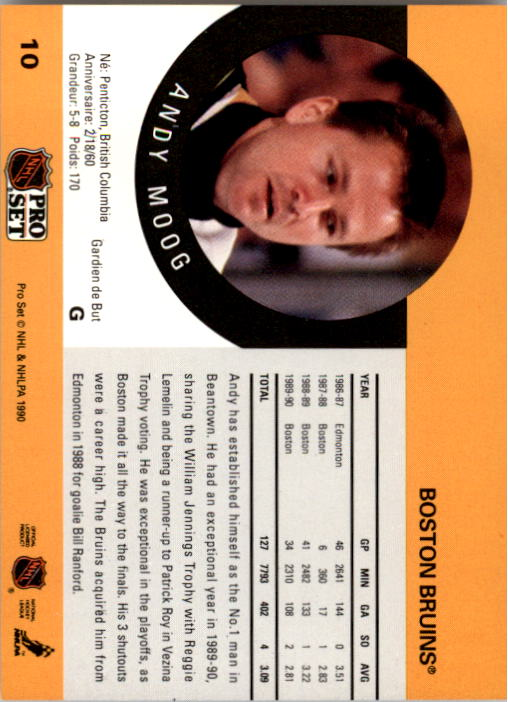 1990-91 Pro Set #10 Andy Moog UER/('89-90 stats are Reggie/Lemelin's; he was 3rd,/not 2nd in Vezina voting) back image