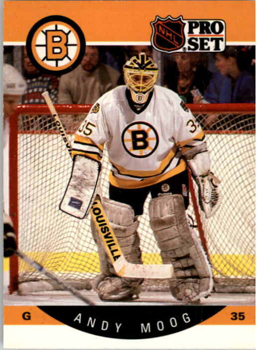 1990-91 Pro Set #10 Andy Moog UER/('89-90 stats are Reggie/Lemelin's; he was 3rd,/not 2nd in Vezina voting)