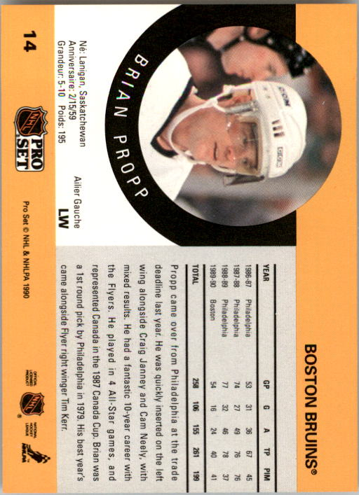 1990-91 Pro Set #14 Brian Propp back image