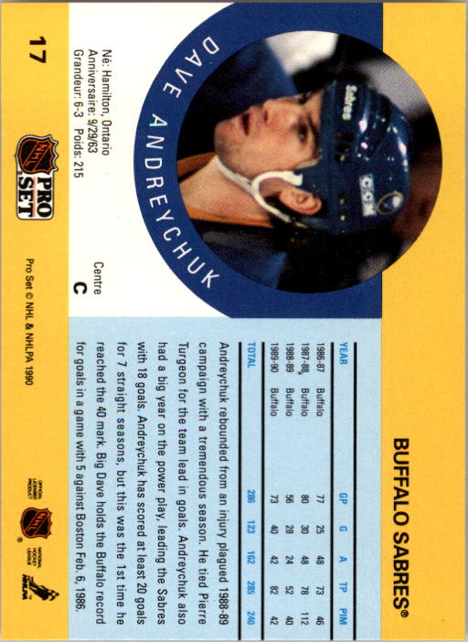 1990-91 Pro Set #17A Dave Andreychuk ERR/(Photo actually Scott/Arniel on back) back image