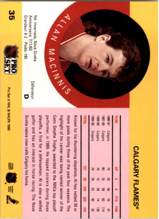 1990-91 Pro Set #35 Al MacInnis UER/(Misspelled Allan/on card back) back image