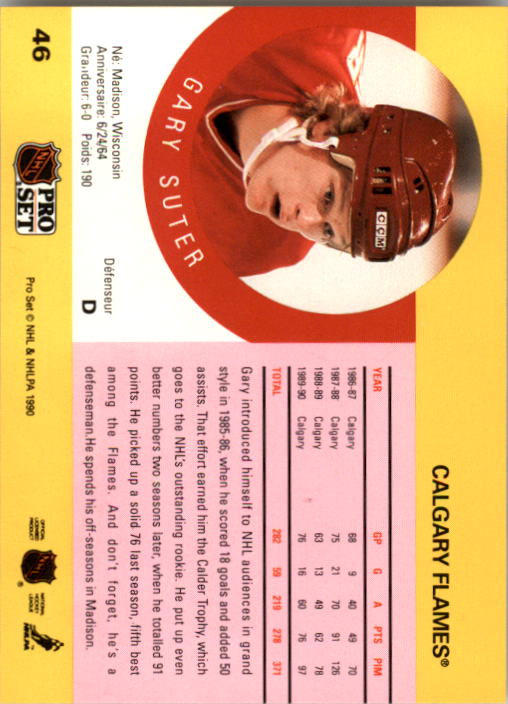 1990-91 Pro Set #46 Gary Suter back image