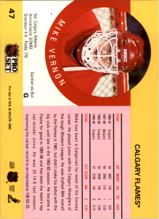 1990-91 Pro Set #47 Mike Vernon back image