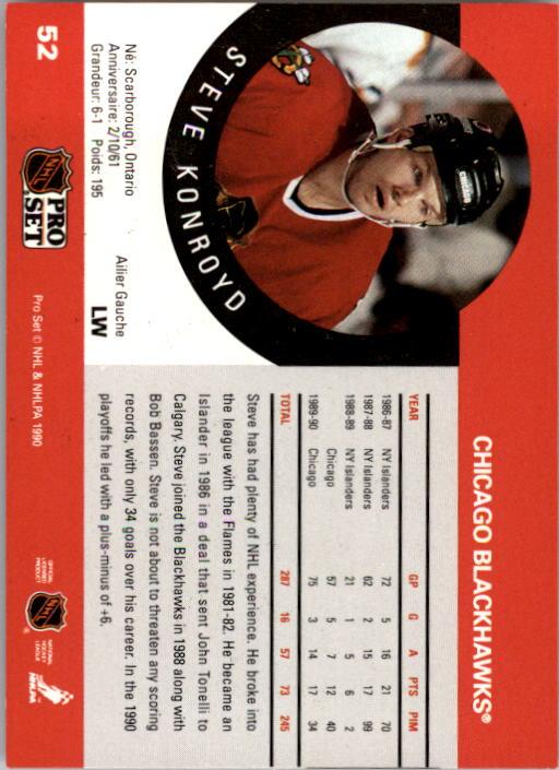 1990-91 Pro Set #52 Steve Konroyd back image