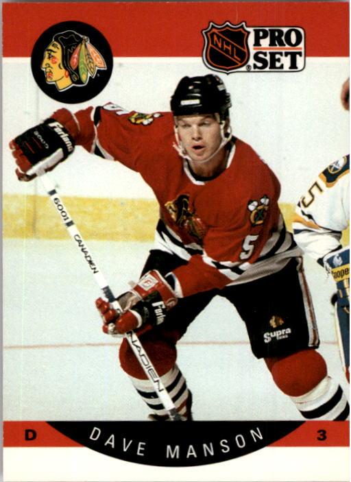 1990-91 Pro Set #54A Dave Manson ERR/(Both photos actually/Steve Konroyd; stick blade/down on ice)