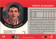 1990-91 Pro Set #59B Denis Savard/(Traded stripe;/played 70 games/in '86-87) back image