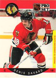 1990-91 Pro Set #59B Denis Savard/(Traded stripe;/played 70 games/in '86-87)