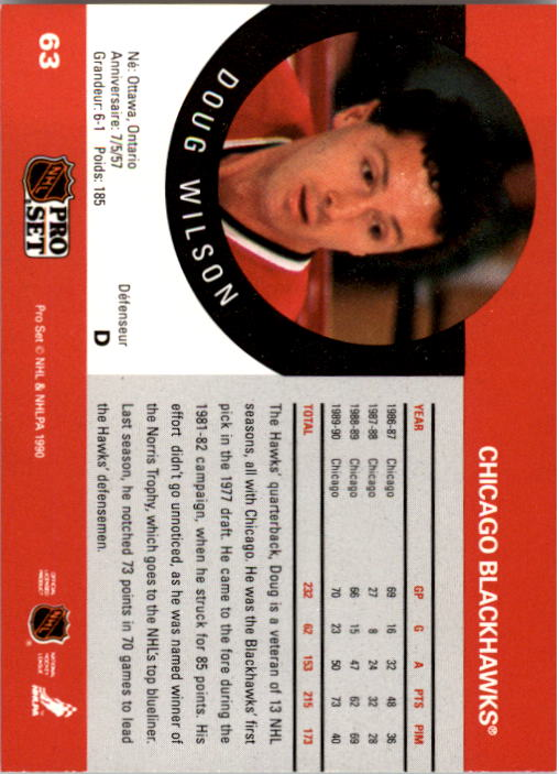 1990-91 Pro Set #63A Doug Wilson/(Position and sweater/number are white) back image