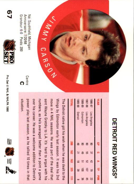 1990-91 Pro Set #67 Jimmy Carson back image
