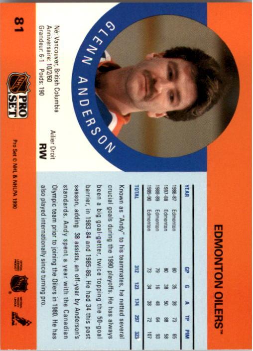 1990-91 Pro Set #81 Glenn Anderson back image
