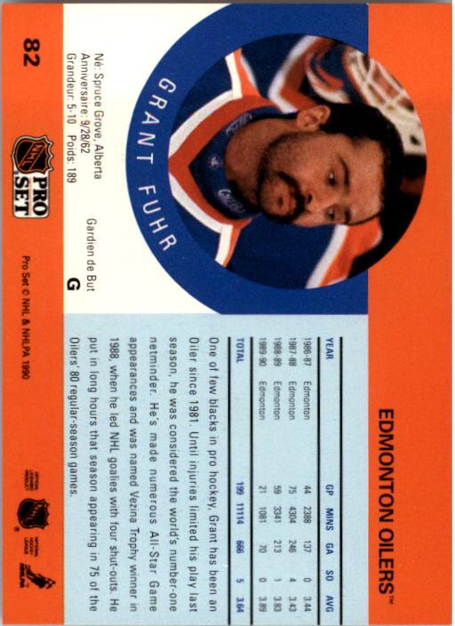 1990-91 Pro Set #82 Grant Fuhr back image