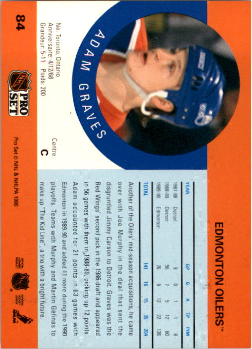 1990-91 Pro Set #84 Adam Graves RC UER/(Stats missing '89-90/Detroit info) back image