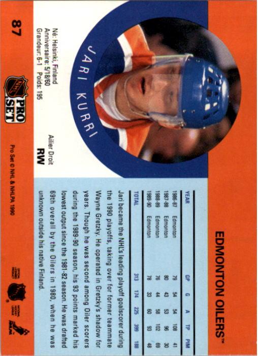 1990-91 Pro Set #87A Jari Kurri ERR/Missing Signed with Milan stripe back image