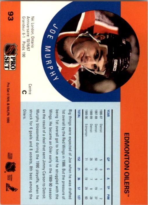 1990-91 Pro Set #93 Joe Murphy RC back image