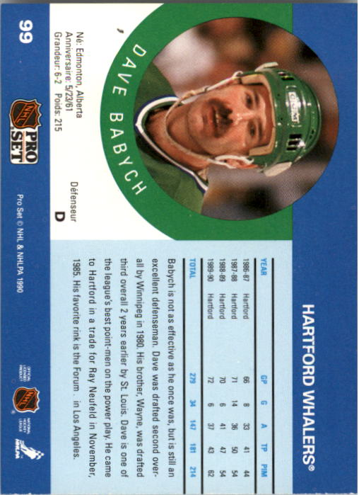 1990-91 Pro Set #99 Dave Babych UER/(Extra space included/after Forum) back image