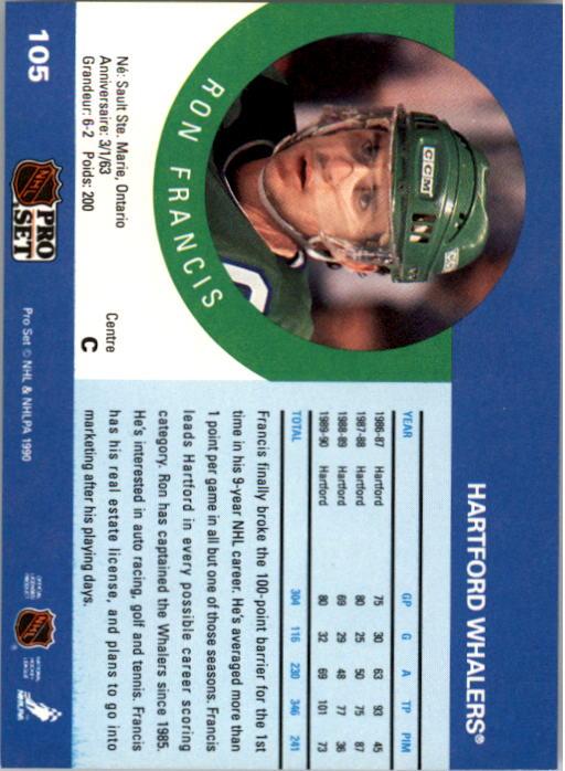 1990-91 Pro Set #105 Ron Francis back image