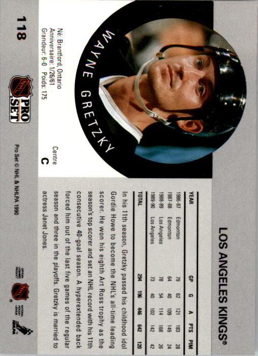 1990-91 Pro Set #118 Wayne Gretzky back image