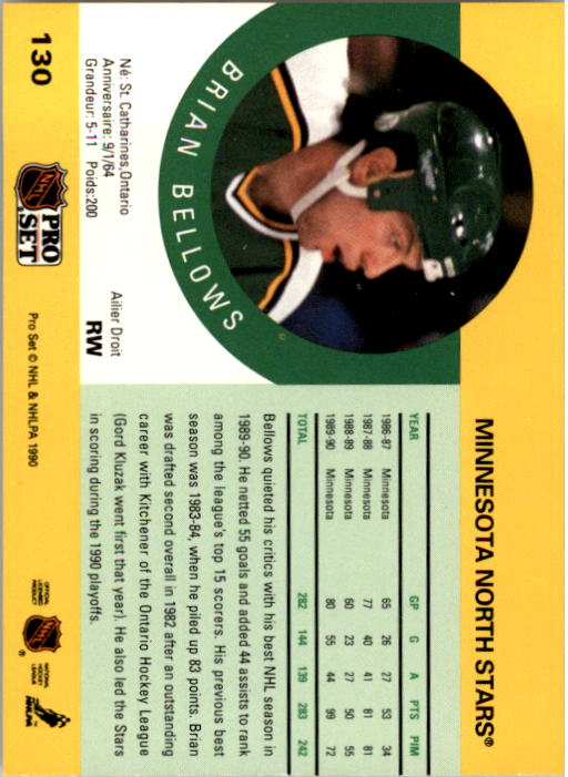 1990-91 Pro Set #130A Brian Bellows ERR/(Back photo actually Dave/Gagner; front LW, back RW) back image