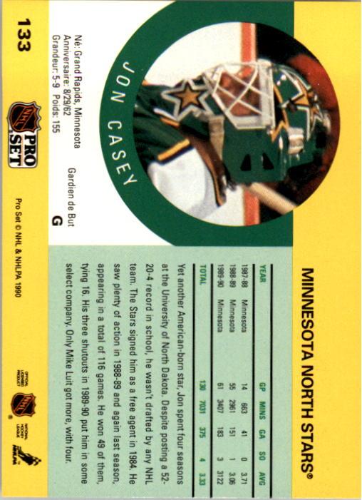 1990-91 Pro Set #133 Jon Casey back image