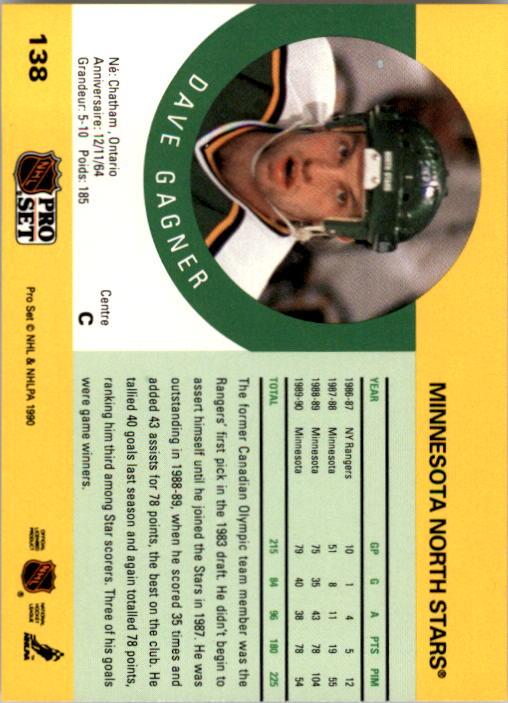 1990-91 Pro Set #138 Dave Gagner back image