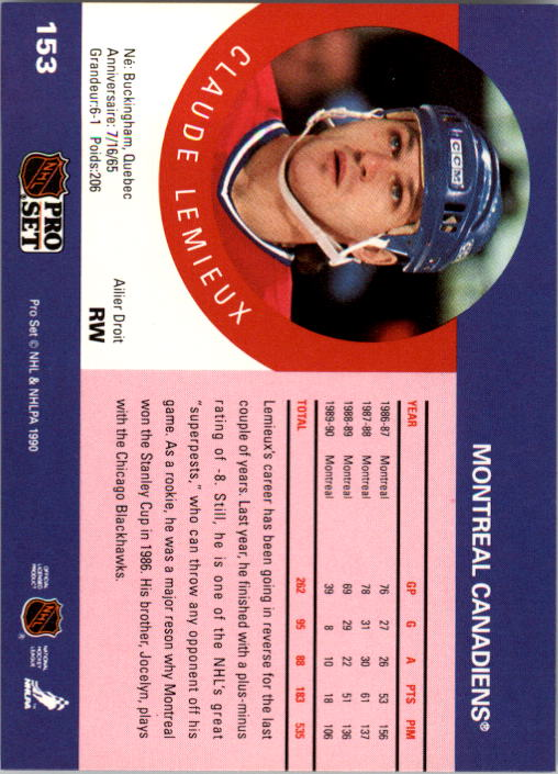 1990-91 Pro Set #153 Claude Lemieux UER/(Reason is misspelled/as reson) back image