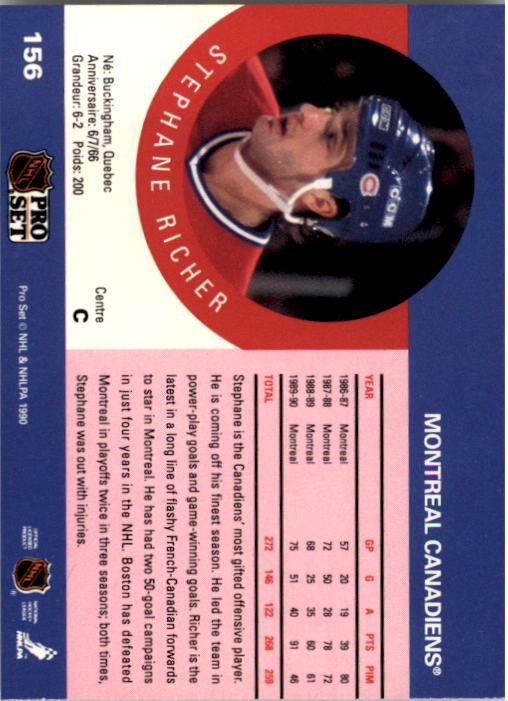 1990-91 Pro Set #156 Stephane Richer back image