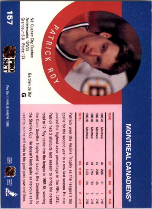 1990-91 Pro Set #157 Patrick Roy back image