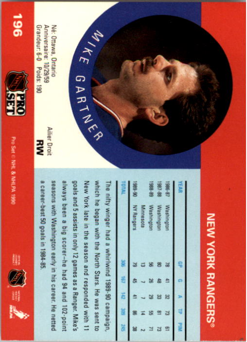 1990-91 Pro Set #196 Mike Gartner UER/(Minnesota and Rangers/stats not separate) back image