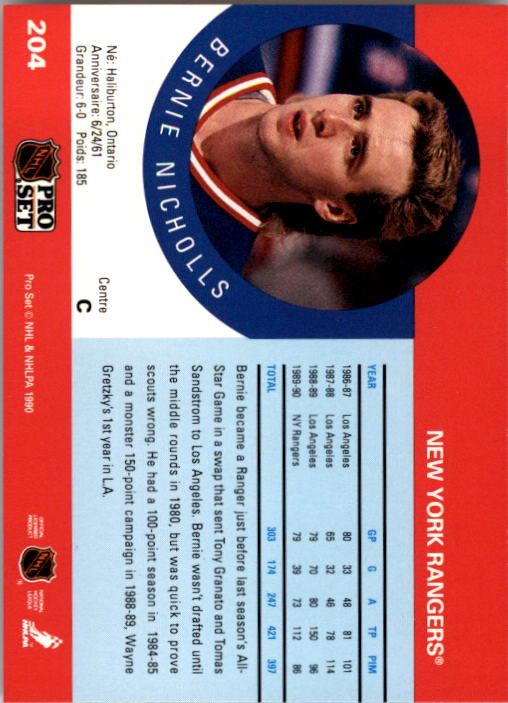 1990-91 Pro Set #204 Bernie Nicholls UER/(Kings and Rangers/stats not separate) back image