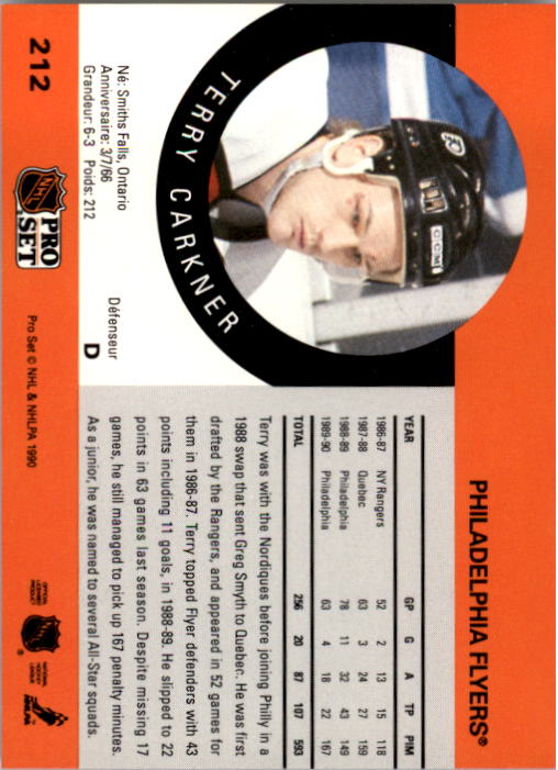 1990-91 Pro Set #212 Terry Carkner back image