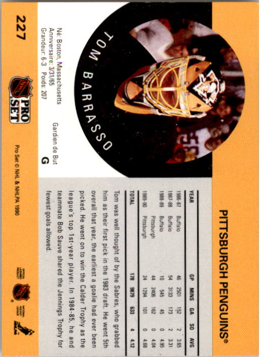 1990-91 Pro Set #227 Tom Barrasso back image