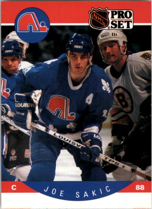 1990-91 Pro Set #257 Joe Sakic UER/(Front 88, back 19)