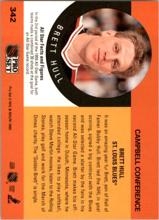1990-91 Pro Set #342 Brett Hull AS back image
