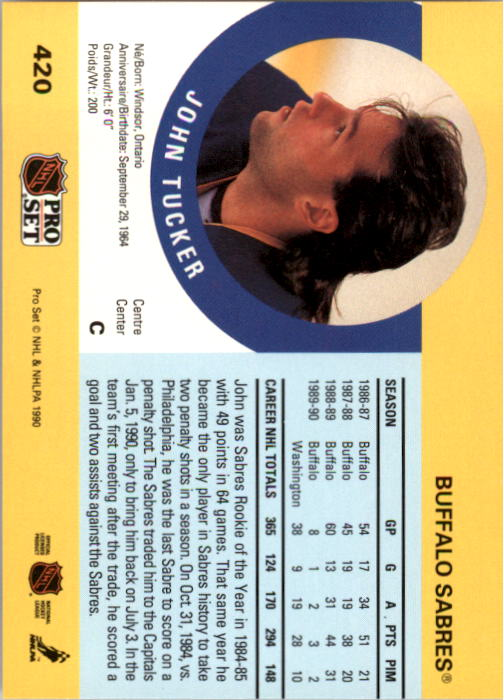 1990-91 Pro Set #420 John Tucker back image