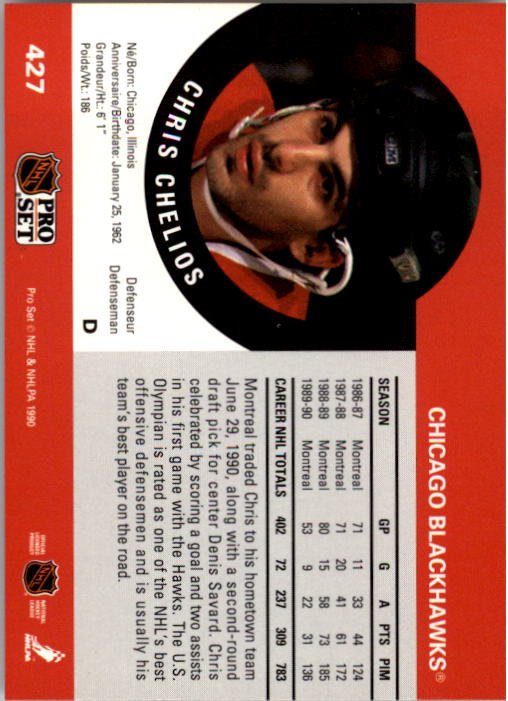 1990-91 Pro Set #427 Chris Chelios back image