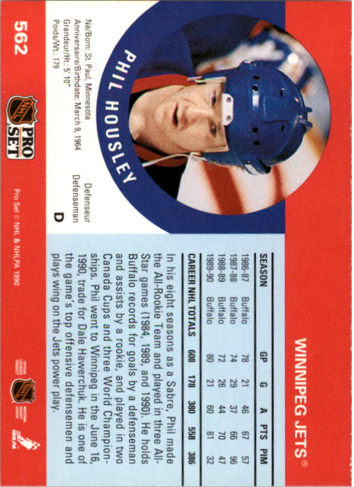 1990-91 Pro Set #562 Phil Housley back image
