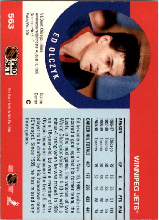 1990-91 Pro Set #563 Ed Olczyk back image
