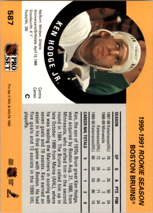 1990-91 Pro Set #587 Ken Hodge Jr. RC back image