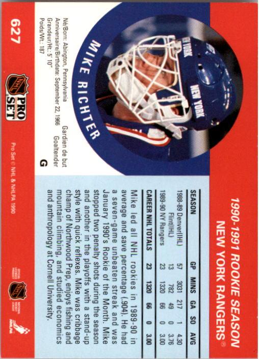 1990-91 Pro Set #627 Mike Richter RC back image