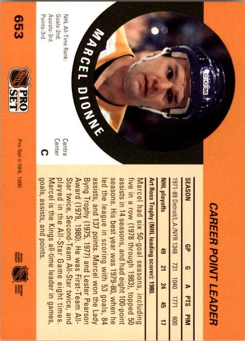 1990-91 Pro Set #653 Marcel Dionne CPL back image