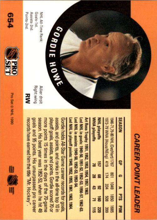 1990-91 Pro Set #654 Gordie Howe CPL back image