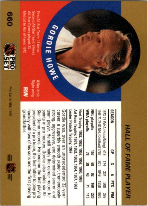 1990-91 Pro Set #660 Gordie Howe HOF back image