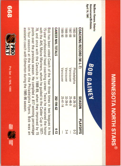 1990-91 Pro Set #668 Bob Gainey CO UER/(Stats and bio are/Bob McCammon's) back image