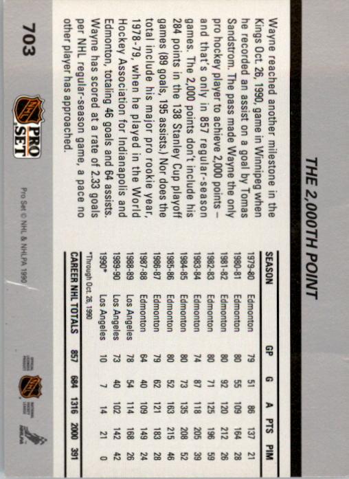 1990-91 Pro Set #703 Wayne Gretzky 2000th UER/(2.33 goals per game,/should be points) UER back image