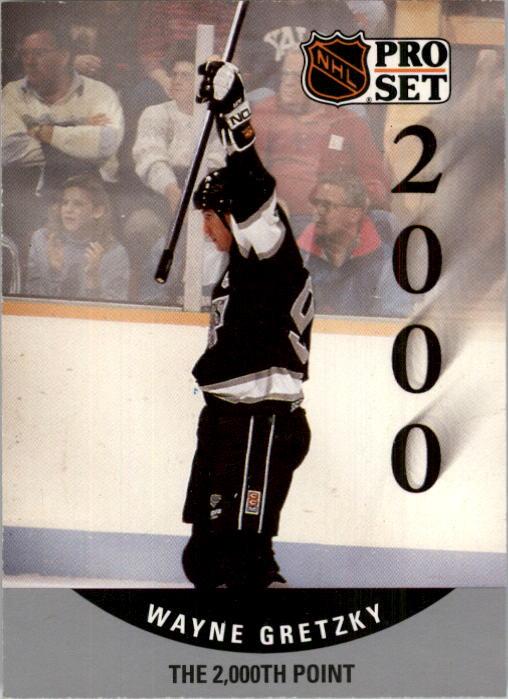 1990-91 Pro Set #703 Wayne Gretzky 2000th UER/(2.33 goals per game,/should be points) UER