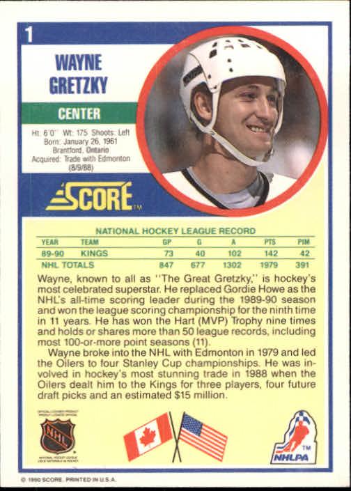 1990-91 Score #1 Wayne Gretzky back image