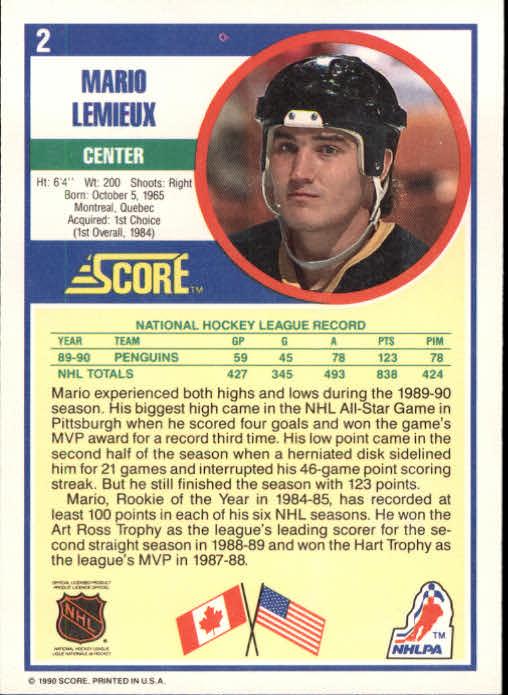 1990-91 Score #2 Mario Lemieux back image